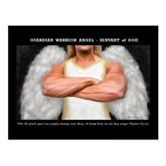 Postal del ángel del guerrero del guarda