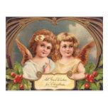 Postal del ángel del navidad del Victorian
