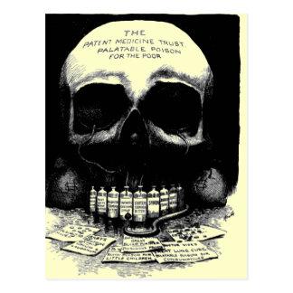 Postal del anuncio de la droga del cráneo del vint