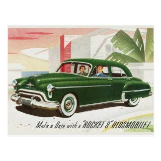 Postal del anuncio de Oldsmobile del vintage