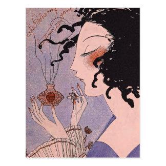 Postal del anuncio de Parfum del francés del art