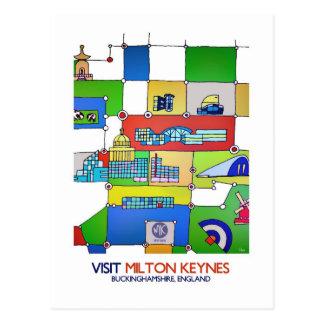 Postal del anuncio del viaje de Milton Keynes