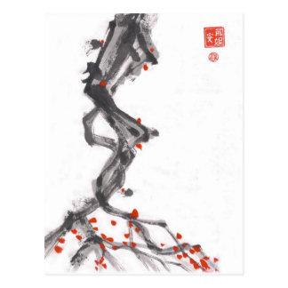Postal del árbol de la baya del arte del cepillo