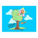 Postal del árbol de la esperanza (azul)