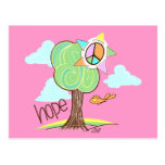 Postal del árbol de la esperanza (rosa)
