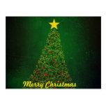 Postal del árbol de navidad de la estrella