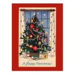 Postal del árbol de navidad del vintage