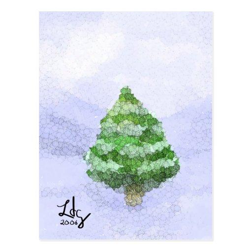 Postal del árbol de navidad Nevado