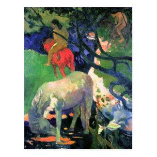 Postal del arte de Gauguin El caballo blanco