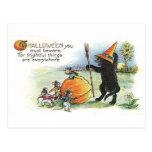 Postal del arte de Halloween del vintage
