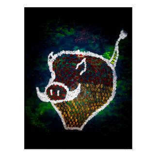 """Postal del arte de JTG del """"cerdo manchado"""""""