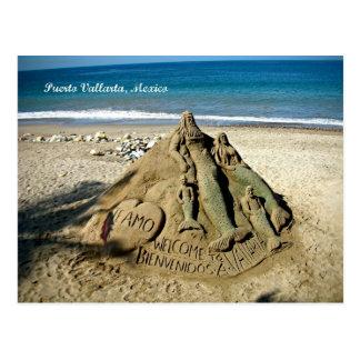 Postal del arte de la arena de la playa de Puerto