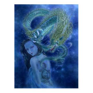 Postal del arte de la fantasía - saber del dragón