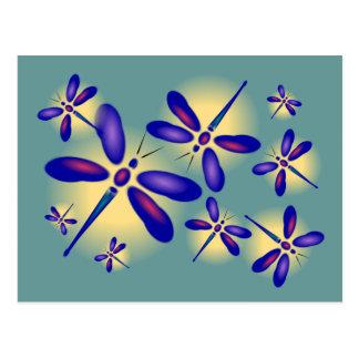 Postal del arte de la libélula