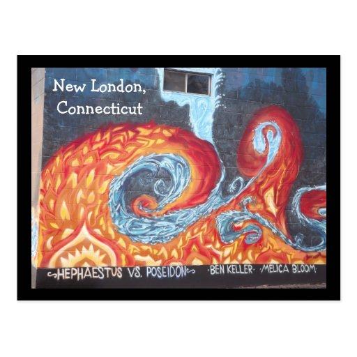 Postal del arte de la pared de nuevo Londres, Conn
