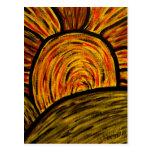 Postal del arte de la puesta del sol del otoño