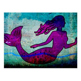 Postal del arte de la sirena