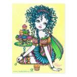 Postal del arte de la torta de la taza de hadas de