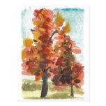 Postal del arte de los árboles del otoño