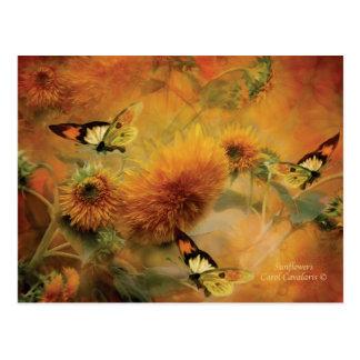 Postal del arte de los girasoles