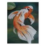 Postal del arte de los pescados de Koi de la marip