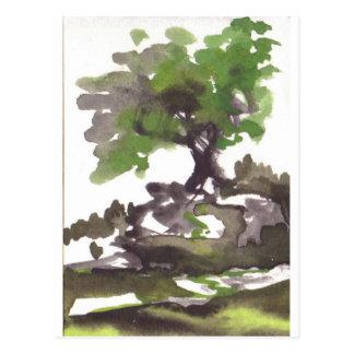 Postal del arte del árbol del barranco del ramo