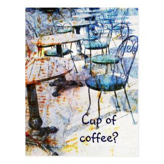 postal del arte del café del vintage