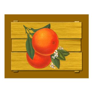Postal del arte del cajón del vintage de los naran