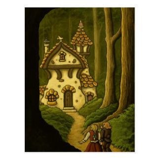 Postal del arte del cuento de hadas de Hansel y de