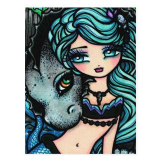 Postal del arte del dragón de la fantasía de la si