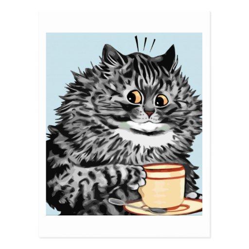 Postal del arte del gato de la taza de té de Louis