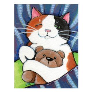 Postal del arte del gato del gato de calicó y del
