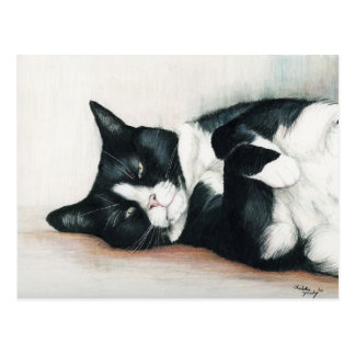 Postal del arte del gato del smoking