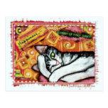 Postal del arte del gato del zen