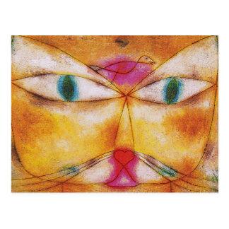 Postal del arte del gato Gato y pájaro de Paul Kl