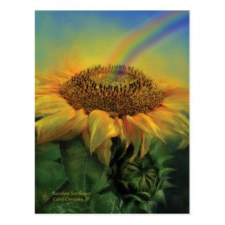 Postal del arte del girasol del arco iris