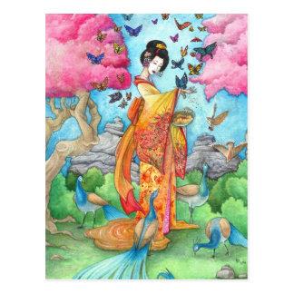 Postal del arte del pavo real de la mariposa del g