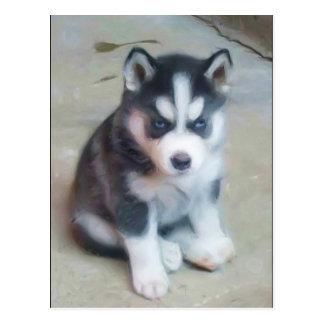 Postal del arte del perrito del husky siberiano
