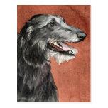 Postal del arte del perro de Deerhound del escocés