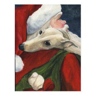 Postal del arte del perro del navidad de Santa del