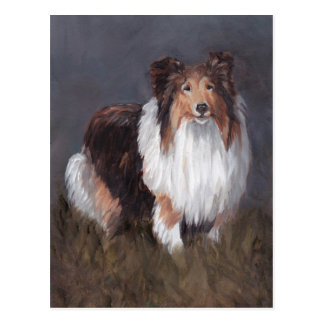 Postal del arte del perro del perro pastor de Shet