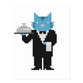 Postal del arte del pixel del gato del camarero