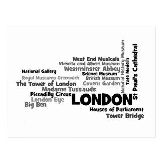 Postal del arte del texto de Londres