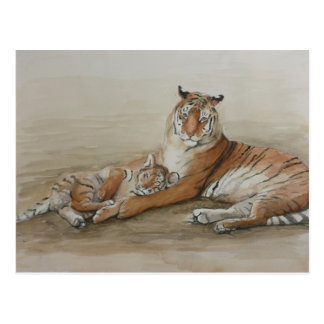 Postal del arte del tigre y del gato de Cub