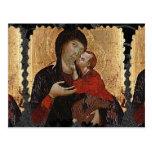 Postal del arte del vintage de la Virgen y del niñ