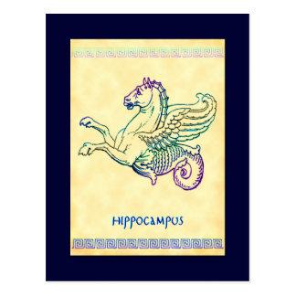 Postal del arte del vintage del caballo de mar del