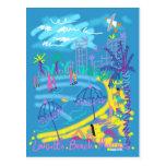 Postal del arte: Dibujo del verano de Mónaco de la