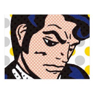 Postal del arte pop del hombre del rock-and-roll
