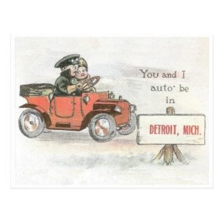 Postal del auto de Detroit del vintage