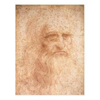 Postal del autorretrato de Leonardo da Vinci